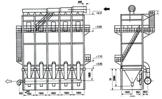 lfef立窑玻纤布袋除尘器外型尺寸结构图